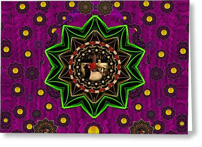 Among Stars A Dove A Fender In Peace And Leather Greeting Card by Pepita Selles
