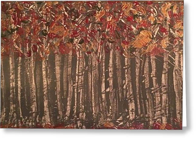 Among The Birches Greeting Card by Heather Burningham