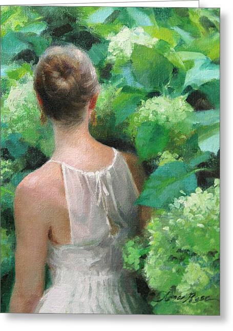 Among The Hydrangeas Study  Greeting Card by Anna Rose Bain