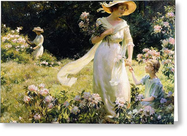 Among The Laurel Blossoms Greeting Card by Charles Courtney Curran