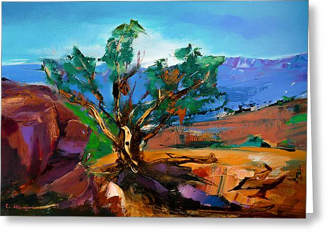 Greeting Card featuring the painting Among The Red Rocks - Sedona by Elise Palmigiani