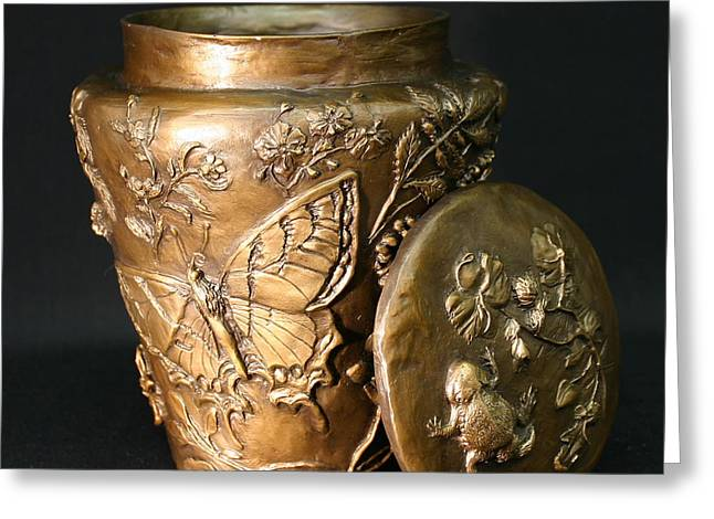 Greeting Card featuring the sculpture Among The Sagebrush Vase With Lid by Dawn Senior-Trask