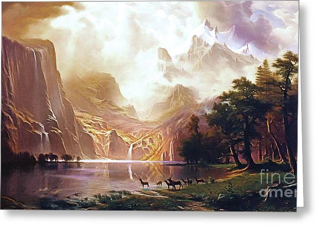 Greeting Card featuring the painting Among The Sierra Nevada California By Albert Bierstadt 20170409 by Wingsdomain Art and Photography