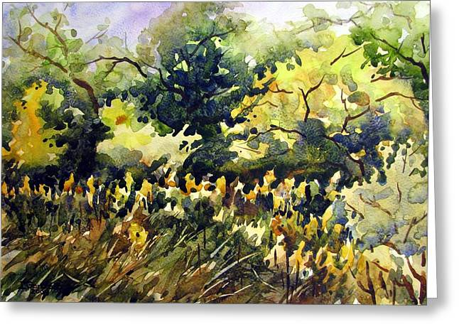 Amongst The Goldenrods Greeting Card by Chito Gonzaga