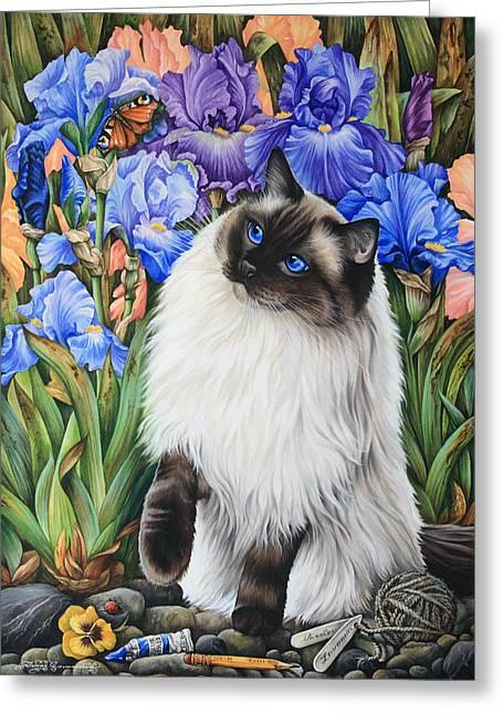 Amongst The Irises Greeting Card by Irina Garmashova-Cawton
