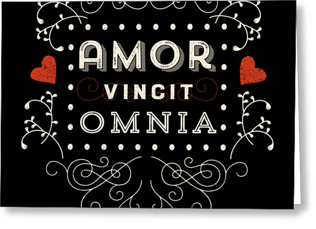 Amor Vincit Omnia Chalkboard Style Greeting Card