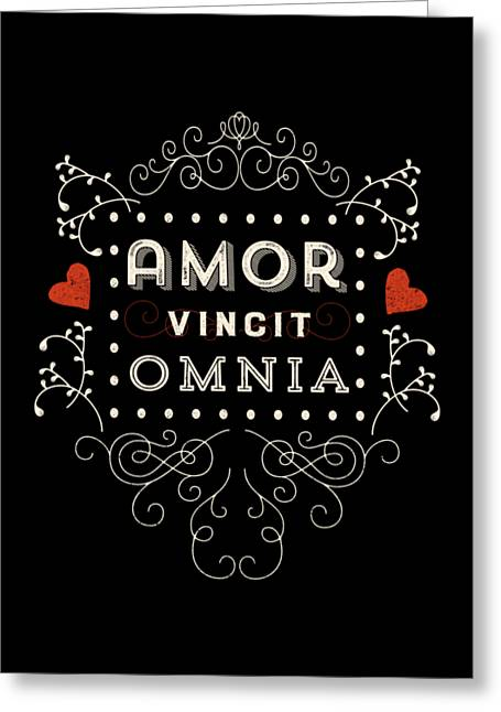 Amor Vincit Omnia Chalkboard Style Greeting Card by Antique Images