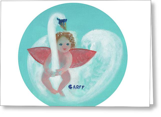 Amorino With Swan Greeting Card