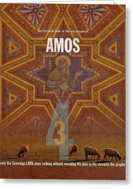 Amos Books Of The Bible Series Old Testament Minimal Poster Art Number 30 Greeting Card by Design Turnpike