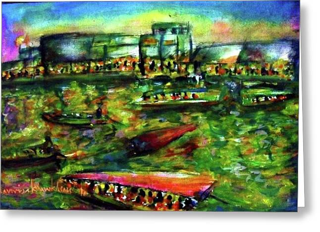 Ampawa Night River Market Greeting Card