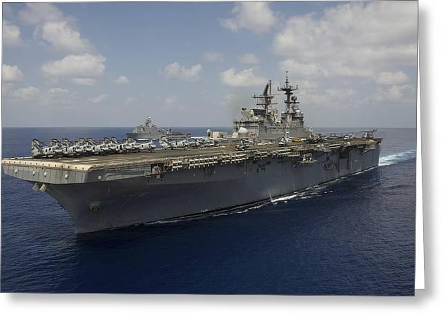 Flight Deck Greeting Cards - Amphibious Assault Ship Uss Makin Greeting Card by Stocktrek Images