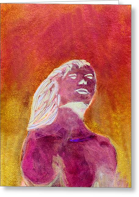 Greeting Card featuring the painting Amphitrite Siren Of Sunset Reef by Donna Walsh