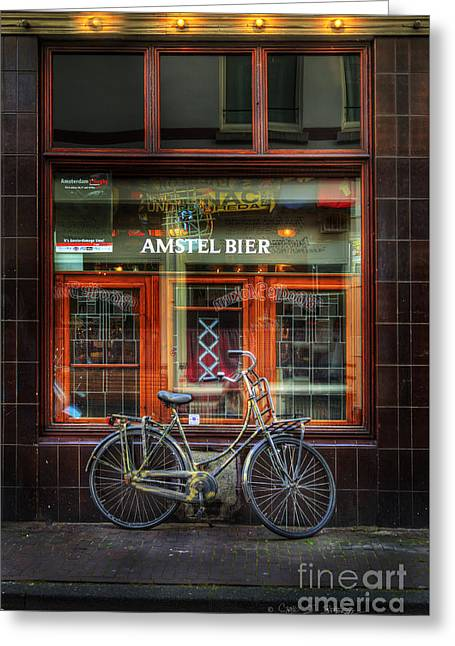 Amstel Bier Bicycle Greeting Card by Craig J Satterlee