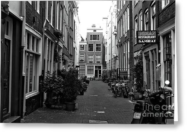 Amsterdam Alley Wonders Mono Greeting Card by John Rizzuto
