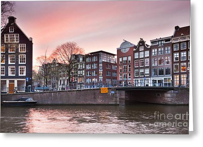 Amsterdam At Sunset Greeting Card by Andre Goncalves