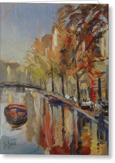 Amsterdam Autumn With Boat Greeting Card