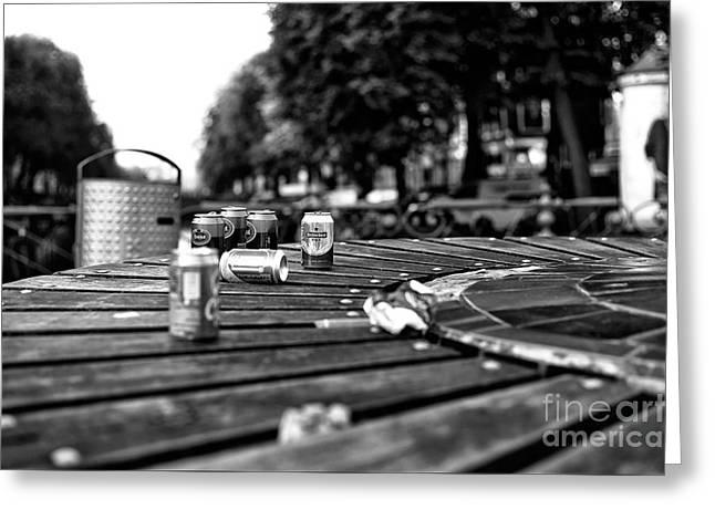 Amsterdam Beer Mono Greeting Card by John Rizzuto