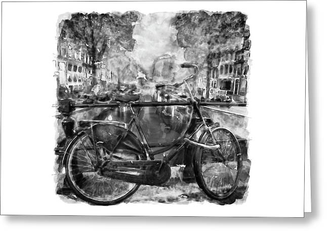 Amsterdam Bicycle Black And White Greeting Card