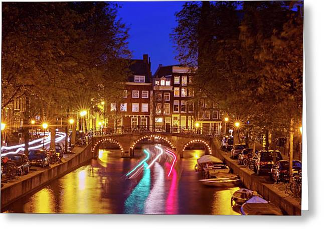 Amsterdam By Night Greeting Card