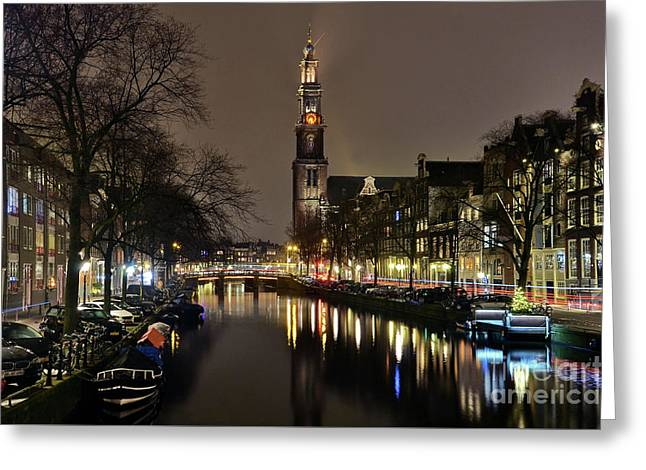 Amsterdam By Night - Prinsengracht Greeting Card