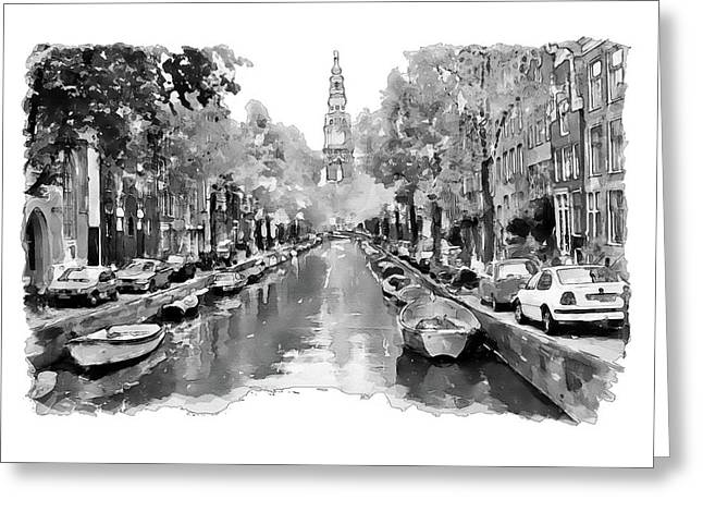 Amsterdam Canal 2 Black And White Greeting Card