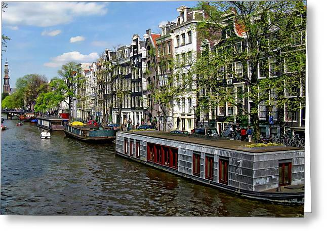 Amsterdam Canal Greeting Card by Anthony Dezenzio