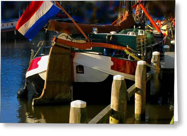 Amsterdam Canal Barge Greeting Card by Nick Diemel