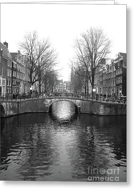 Amsterdam Canal Bridge Black And White Greeting Card by Carol Groenen