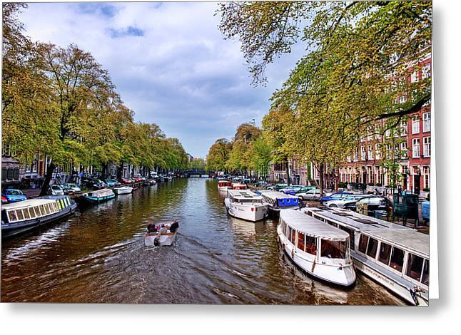 Amsterdam Canal In Spring Greeting Card by Nathaniel Grant