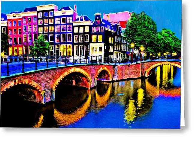 Europe Mixed Media Greeting Cards - Amsterdam Greeting Card by Edelberto Cabrera