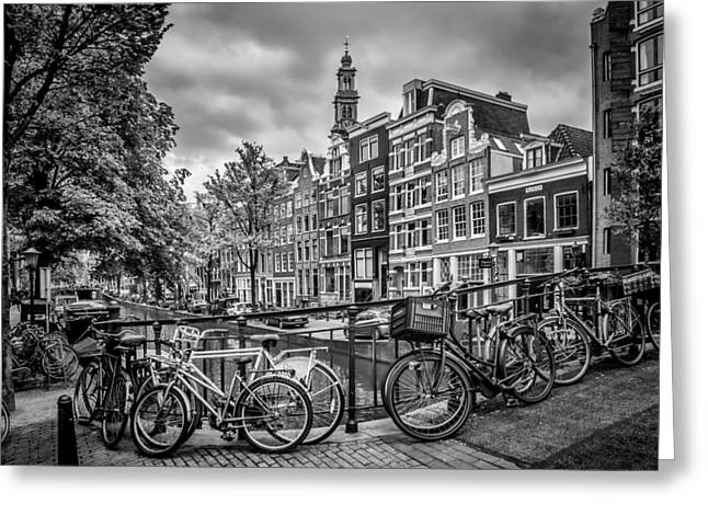 Amsterdam Flower Canal Black And White Greeting Card by Melanie Viola