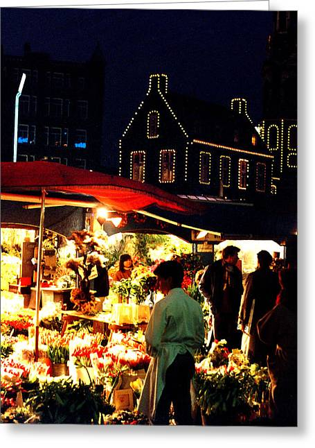 Amsterdam Flower Market Greeting Card by Nancy Mueller