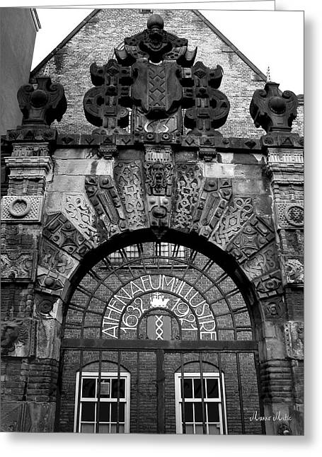 Amsterdam Gate Black And White Greeting Card by Marko Mitic