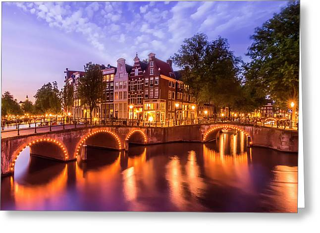 Amsterdam Idyllic Nightscape From Keizersgracht And Leidsegracht  Greeting Card
