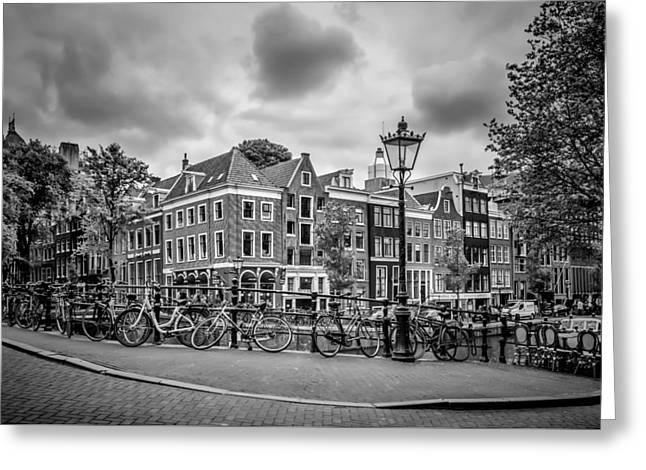Amsterdam Prince's Canal And Leliegracht Monochrome Greeting Card