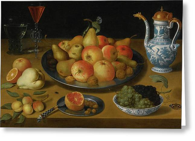 Amsterdam Still Life Of Pears And Apples On A Pewter Plate Greeting Card by MotionAge Designs