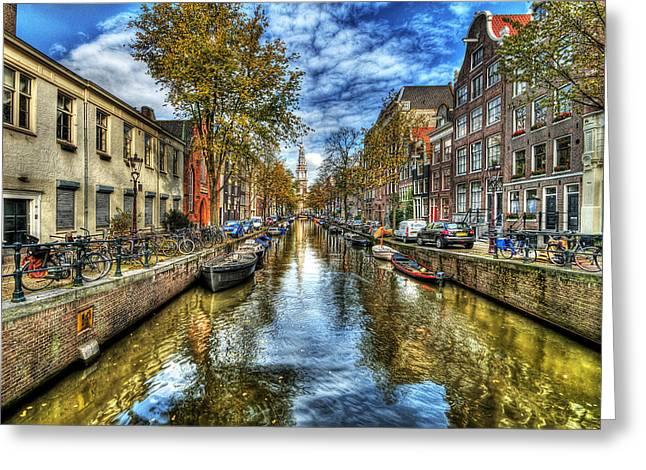 Blue Car. Greeting Cards - Amsterdam Greeting Card by Svetlana Sewell