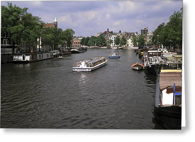 Amsterdam Water Scene Greeting Card by Sally Weigand