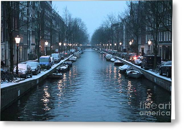 Amsterdam Winter Blues Greeting Card by Carol Groenen