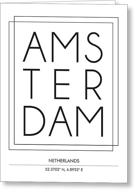 Amsterdam With Co-ordinates Greeting Card