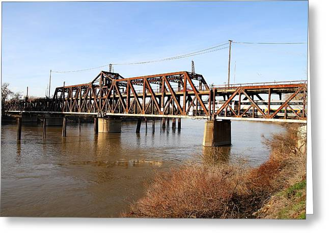 Amtrak California Crossing The Old Sacramento Southern Pacific Train Bridge . 7d11674 Greeting Card by Wingsdomain Art and Photography