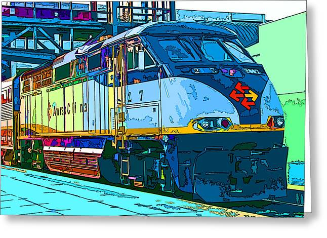 Amtrak Locomotive Study 2 Greeting Card by Samuel Sheats