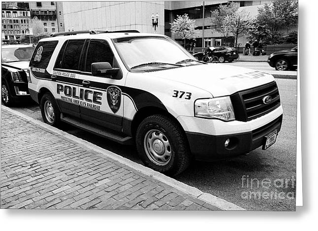 amtrak police k-9 unit dog patrol vehicle Boston USA Greeting Card