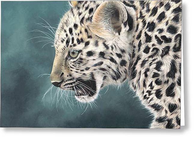 Amur Leopard Cub Greeting Card by Clive Meredith