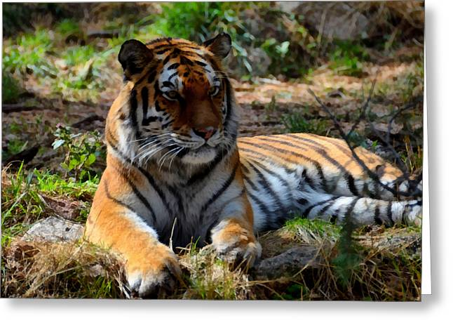 Greeting Card featuring the mixed media Amur Tiger 1 by Angelina Vick