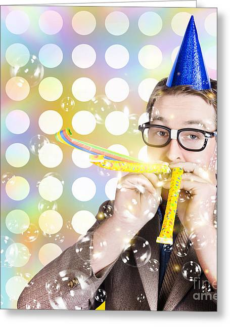 Amusement Man In Party Hat Celebrating A Birthday Bash Greeting Card by Jorgo Photography - Wall Art Gallery