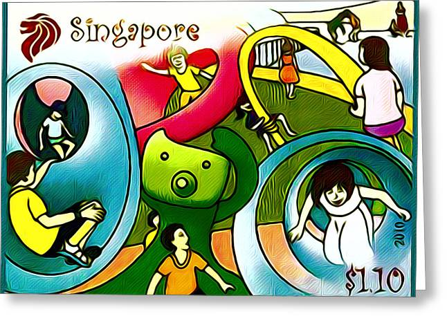 Amusement Park In Singapore 1 Greeting Card by Lanjee Chee