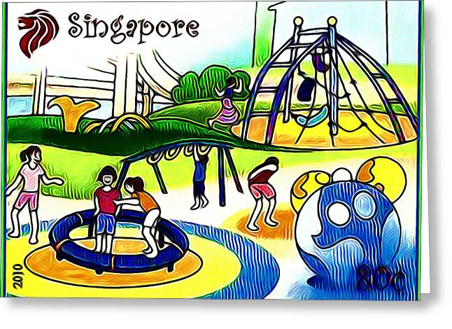 Amusement Park In Singapore 2 Greeting Card by Lanjee Chee