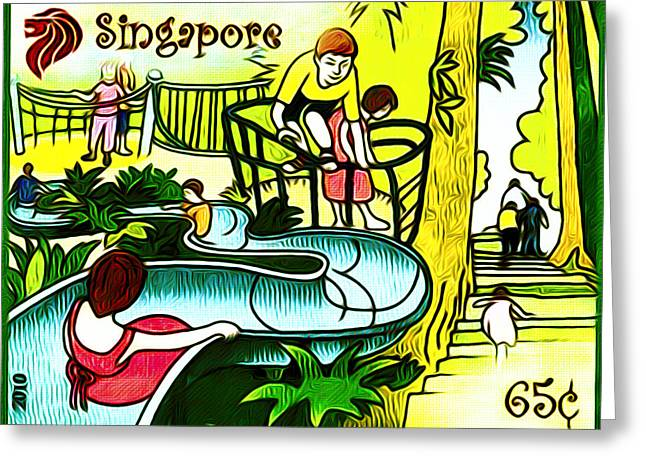 Amusement Park In Singapore 3 Greeting Card by Lanjee Chee