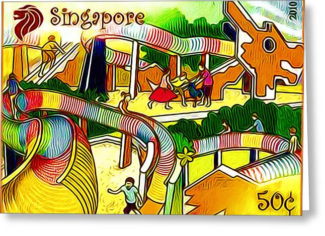 Amusement Park In Singapore 4 Greeting Card by Lanjee Chee
